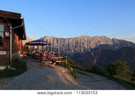View from the Vorderkaiserfelden alpine Hut towards the Wild Kaiser mountains at sundown