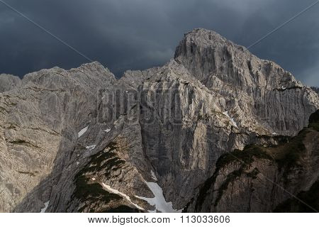 View towards the mountain Totenkirchl with thunderclouds