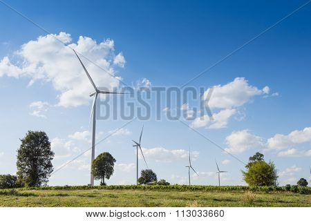 Wind Turbines For Genertating Electricity With Blue Sky