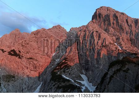 Mountain Totenkirchl with alpine glow, Austria Alps