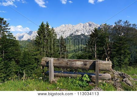 Bench with Wild Kaiser mountains in the background