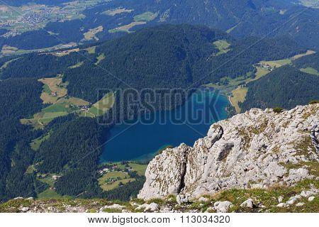 View from mountain Scheffauer towards the Hintersteiner See