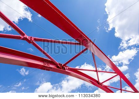 Blue sky and red bridge