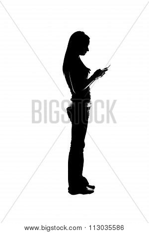 Isolated Silhouette Of A Beautiful Girl Texting