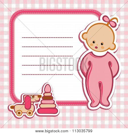 Birthday Card. Baby on a pink background