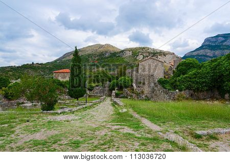 Ruins Of Fortress Walls With View Of Mountains, Old Bar, Montenegro