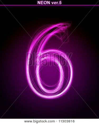 Glowing neon Number 6