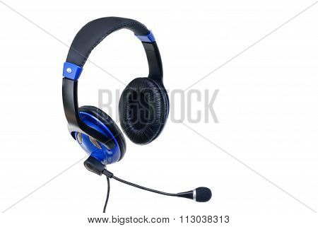 Modern Headphones With Microphone Isolated On White Background
