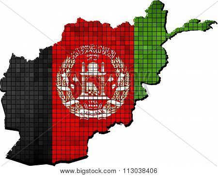 Afghanistan Map With Flag Inside.eps