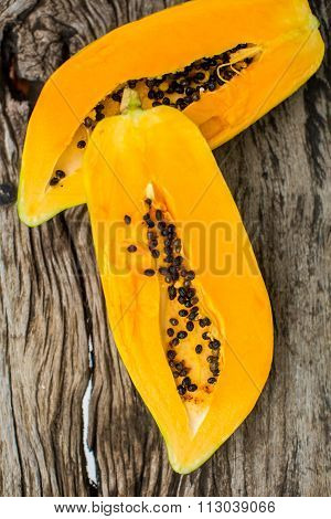 Papaya On Wooden Board