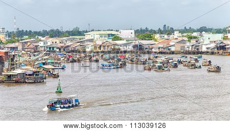 Village floating market on the Mekong river junction