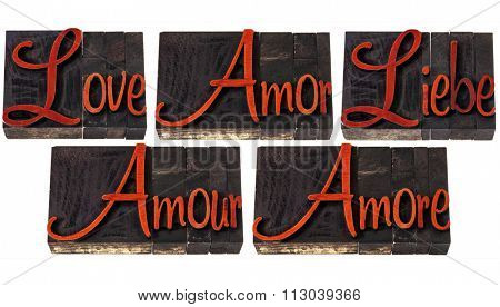 love word in 5 languages (English, Spanish, German, French and Italian) - a collage of isolated text in vintage letterpress wood type printing blocks stained by red ink