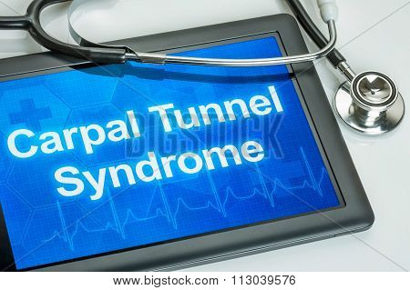 Tablet With The Diagnosis Carpal Tunnel Syndrome On The Display