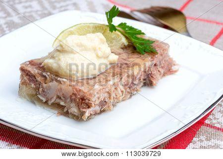 Russian Aspic - Kholodets With Chopped Horseradish (chren)