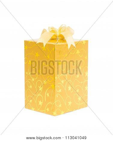 Gold Gift Box With Bow Isolate