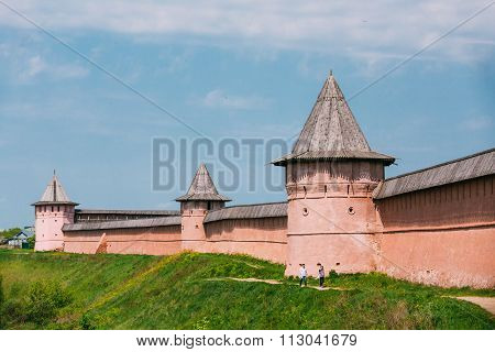 Ancient walls and Towers of Suzdal Kremlin, Russia