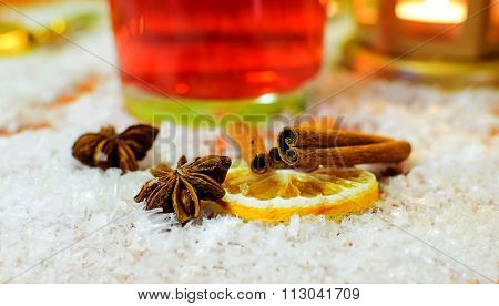 Punch Ingredients. Christmas And Winter Background.