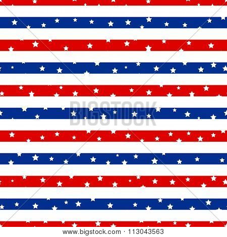 Seamless Striped Pattern With Stars