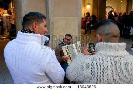 Munich, Germany - October 22 2011: Street Musician, Accordion. To Listen To Him And Take Pictures Of