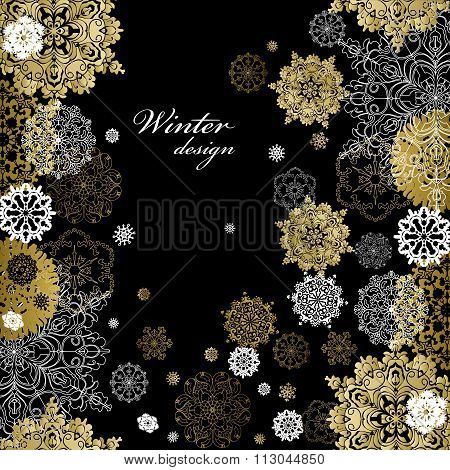 Winter design with golden white snowflakes on black background.