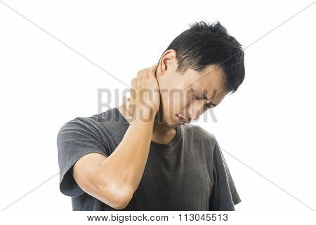 Man physical discomfort neck pain on whit background