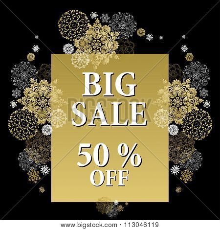 Winter sale banner printable card template with golden snowflakes design.