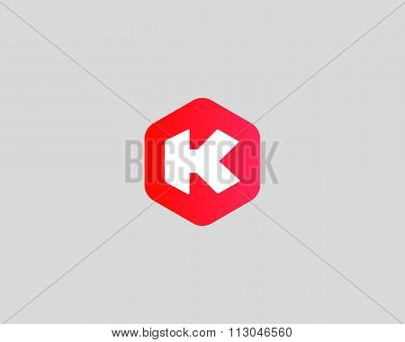 Abstract letter K logo design template. Colorful creative hexagon sign. Universal vector icon.