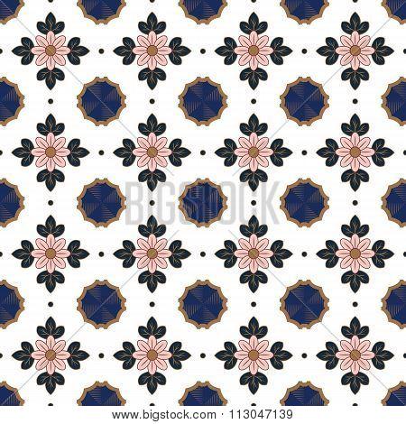 Seamless background image of vintage pink flower leaf geometry kaleidoscope pattern.