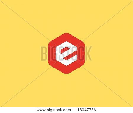 Abstract letter E logo design template. Colorful creative hexagon sign. Universal vector icon.