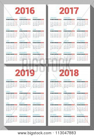 Set Of Calendars For 2016, 2017, 2018, 2019 Years On White Background. Week Starts Monday. Vector De