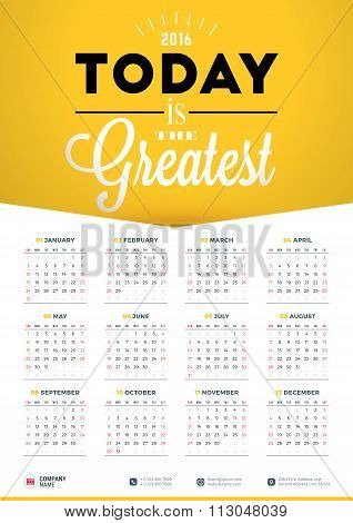 Wall Calendar Poster For 2016 Year. Vector Design Print Template With Typographic Motivational Quote