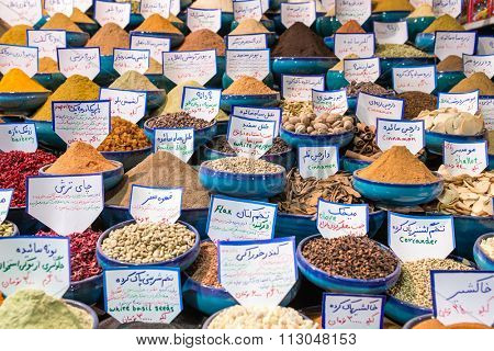 Shiraz, Iran - December 24, 2015: Variety of spices on the Iranian market in Shiraz