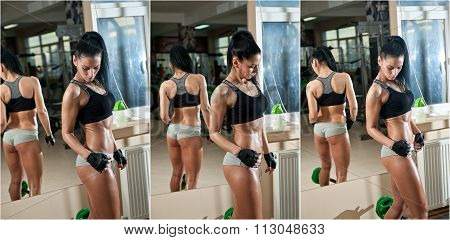 Gorgeous brunette working on her muscles in a gym, mirror reflection. Fitness woman doing workout