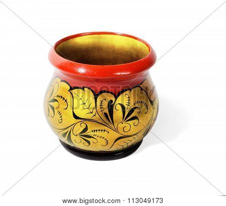 Wooden pot, painted in the style of Khokhloma