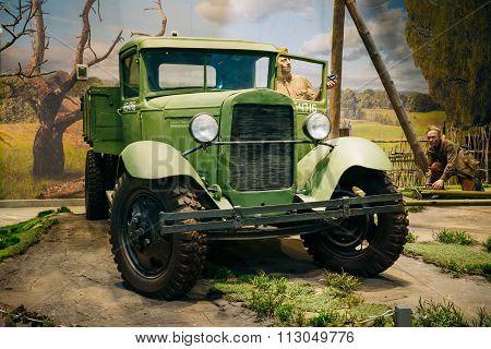Russian Soviet truck GAZ AA In The Belarusian Museum Of The Grea