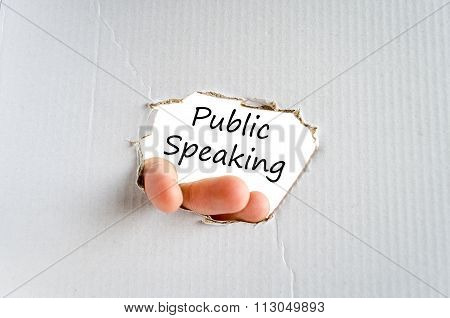 Public speaking text concept isolated over white background