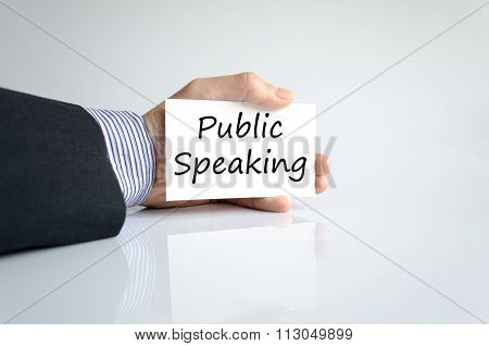 Business man hand and text public speaking concept isolated over white background