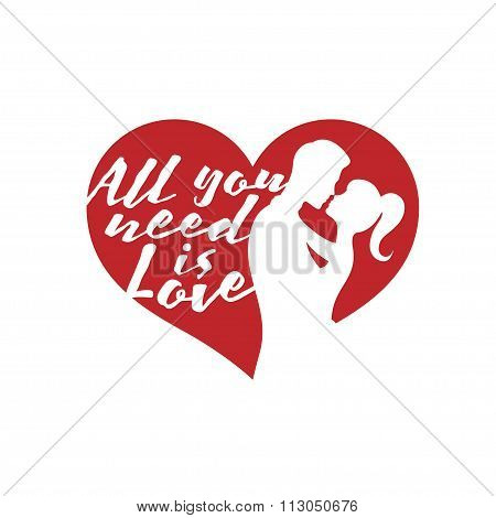Valentine day lettering background with kissing couple and quote. Vector illustration.