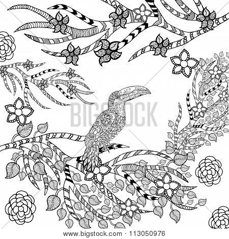 Zentangle stylized toucan in flower garden