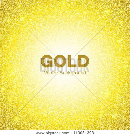 Golden Bright Glowing Circle Background. Jewelry Gold Background Concept.