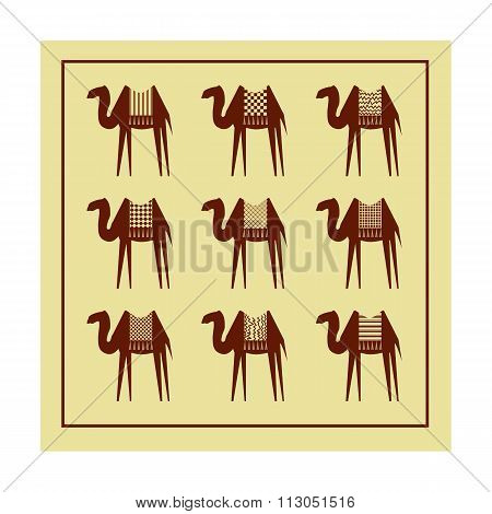 Stylized Camels On A Beige Background