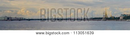 Panoramic View Of Neva River In Summer. Golden Clouds. Saint Petersburg, Russia