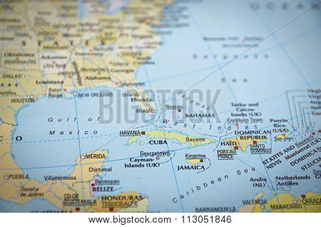 Cuba On Map..