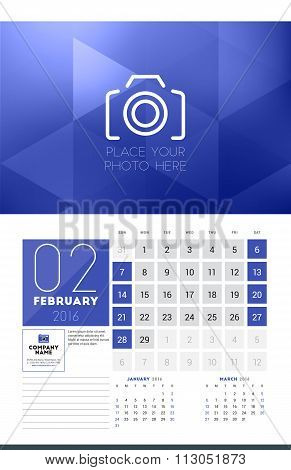 Calendar For 2016 Year. February. Vector Design Clean Template With Modern Abstract Background, Logo