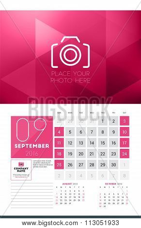 Calendar For 2016 Year. September. Vector Design Clean Template With Modern Abstract Background, Log