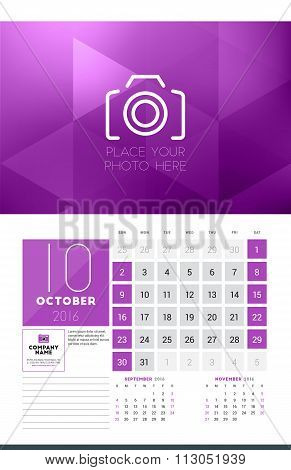 Calendar For 2016 Year. October. Vector Design Clean Template With Modern Abstract Background, Logo