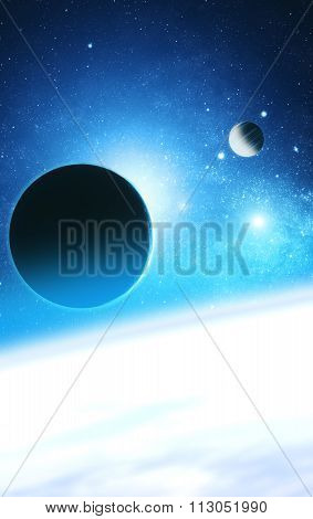 Planets with starry background