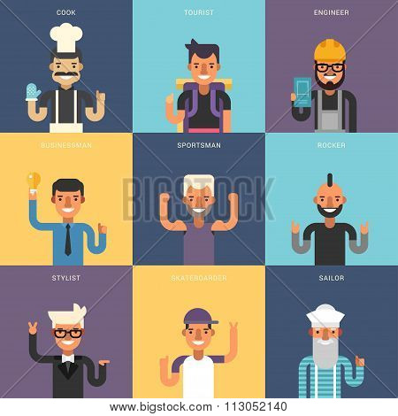 Set Of Flat Design Professional People Characters. Male Characters  Set. Cook, Tourist, Engineer, Bu