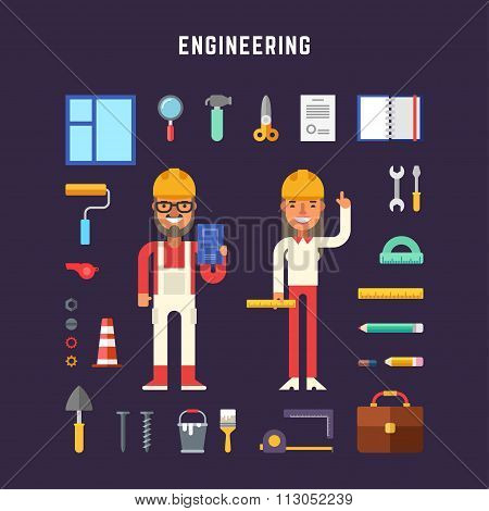 Set Of Vector Icons And Illustrations In Flat Design Style. Engineering Concept. Male And Female Car