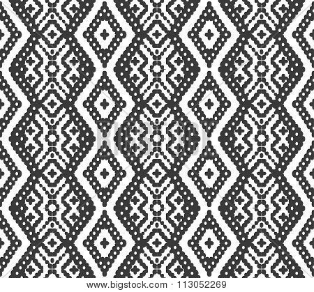 Seamless background image of gray tone aboriginal diamond geometry cross check pattern.